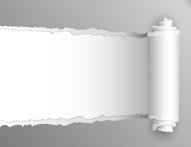 Gescheurd papier met opening met witte achtergrond Premium Vector
