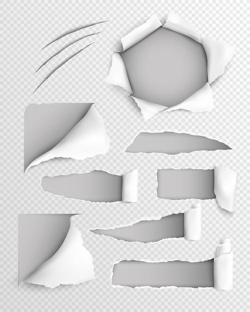 Gescheurd papier realistische transparante set Gratis Vector