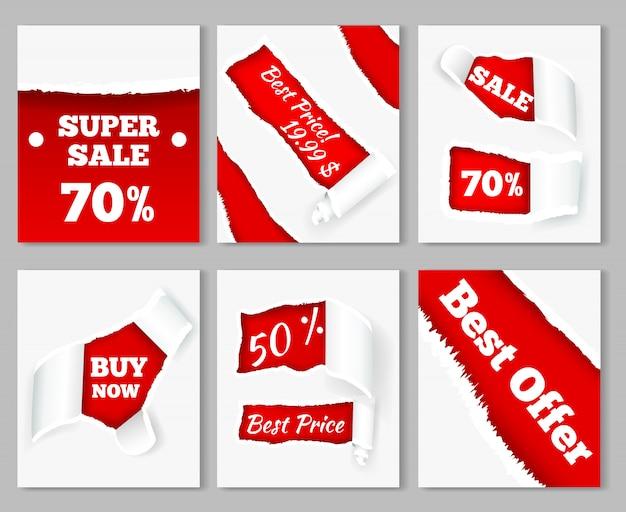 Gescheurde papieren krullen onthullen super verkoop kortingsprijzen op rode achtergrond realistische kaarten set Gratis Vector