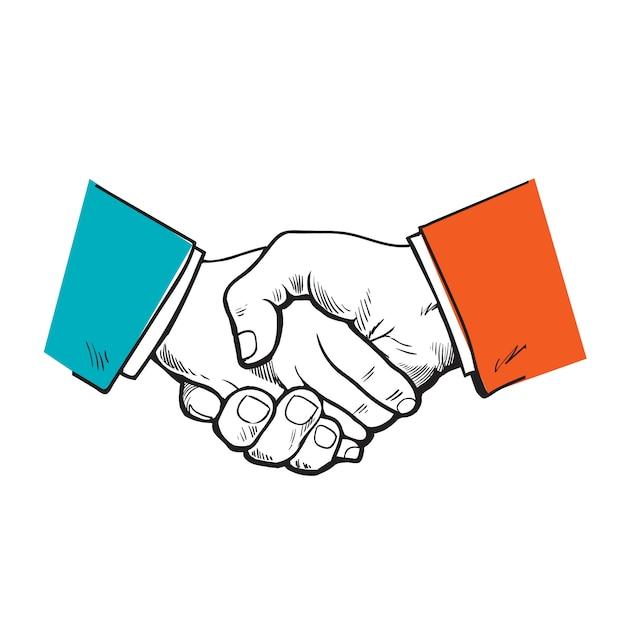 Geschilderde handdruk. vector het partnerschap. symbool van vriendschap, partnerschap en samenwerking. schets handdruk. een sterke handdruk. bedrijf en handdruk. de samenwerking van mensen, bedrijven. Premium Vector