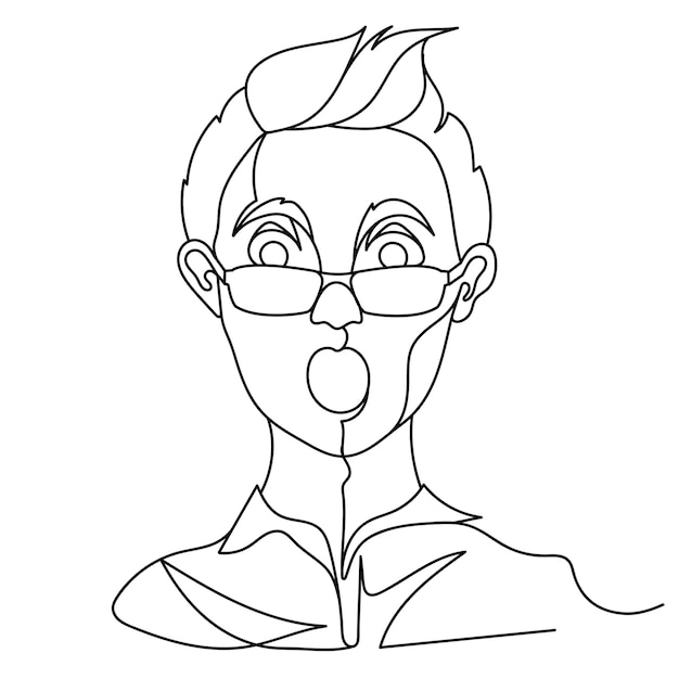 Geschokt man in brillen portret één regel kunst. verrast mannelijke gezichtsuitdrukking. hand getekend lineaire man silhouet. Premium Vector