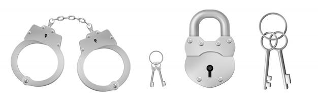 Gesloten handboeien en hangslot met sleutels. Gratis Vector