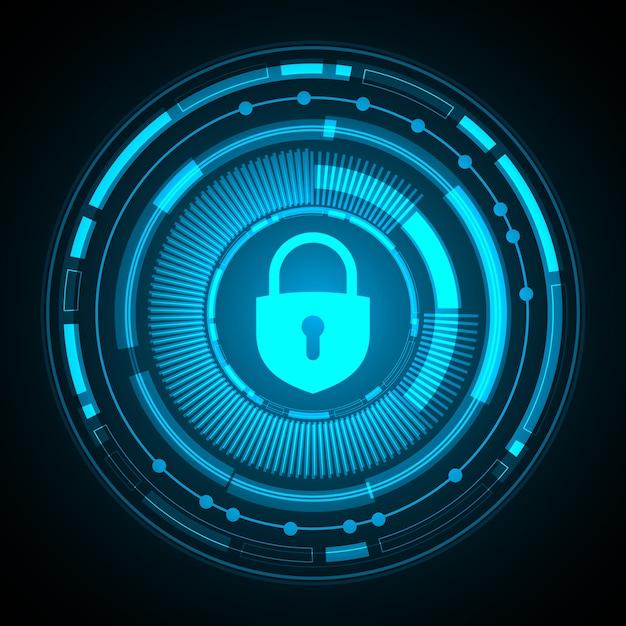 Gesloten hangslot op digitale achtergrond, cyberbeveiliging Premium Vector