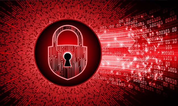 Gesloten hangslot op digitale achtergrond, cybersecurity Premium Vector