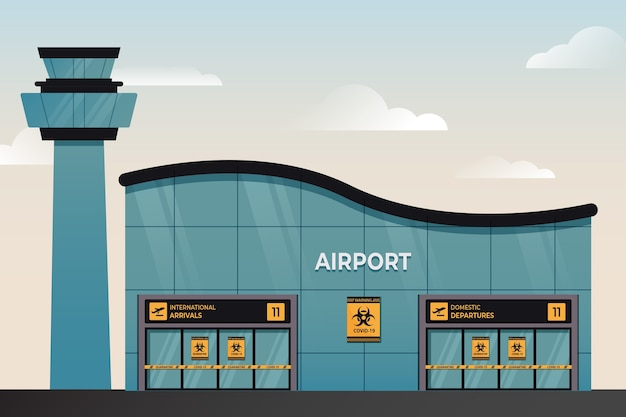 Gesloten luchthaven wegens pandemie Gratis Vector