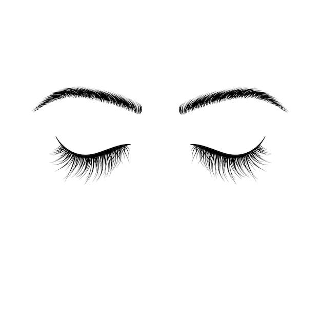 Gesloten ogen zwarte wimpers Premium Vector