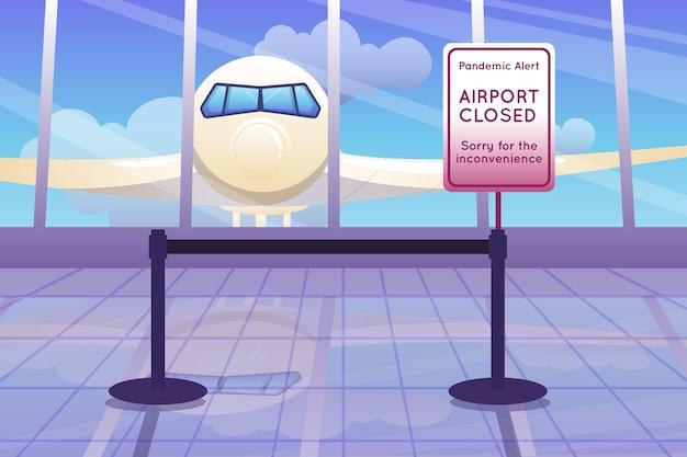Gesloten pandemiealarm op de luchthaven Gratis Vector