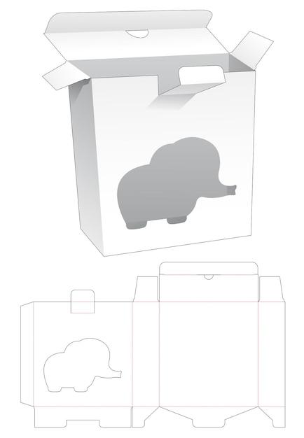 Gesloten rechthoekige doos met gestanst sjabloon in de vorm van een olifant Premium Vector