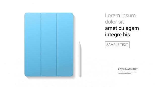 Gesloten tablet met stylus geïsoleerd op witte muur realistische mockup gadgets en apparaten concept Premium Vector