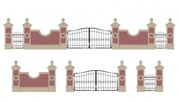 Gesmede ijzeren poort met pilaren Premium Vector