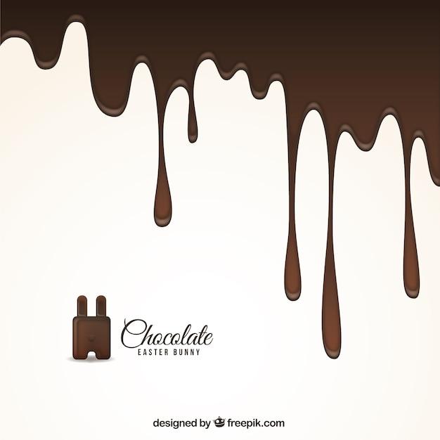 Gesmolten chocolade achtergrond voor pasen Gratis Vector