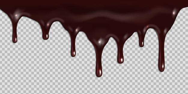Gesmolten donkere chocolade druipen geïsoleerd op transparante achtergrond. Premium Vector