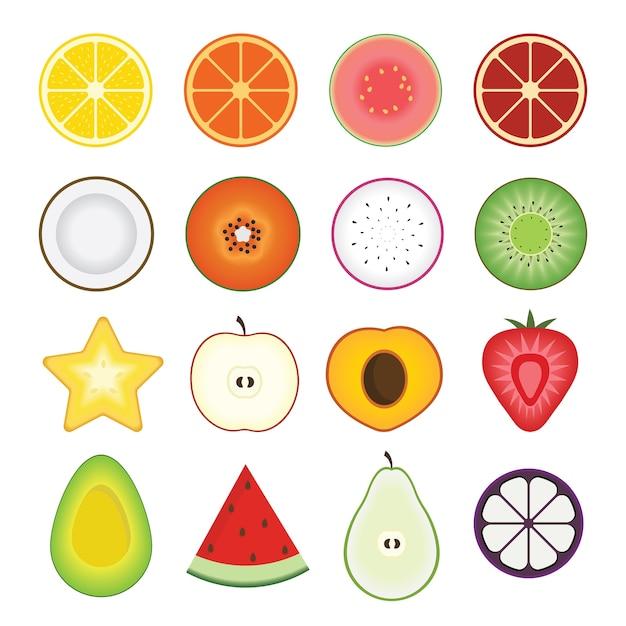 Gesneden fruit Premium Vector