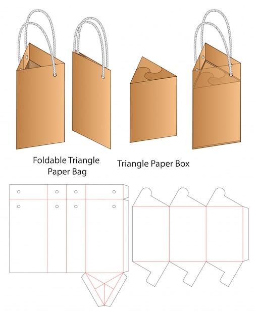Gestanste sjabloon verpakking papieren zak. 3d Premium Vector