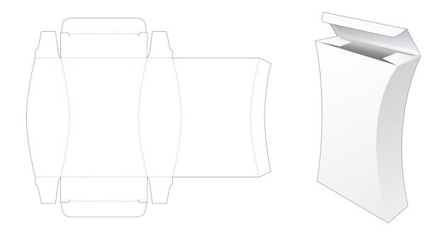 Gestanste sjabloon voor hoge doos met gebogen zijkant Premium Vector