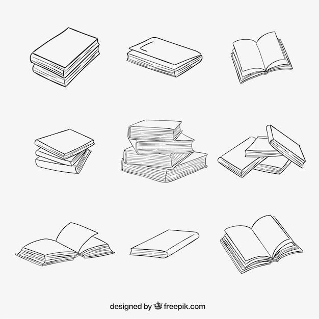 Gestapeld en geopende boeken in schetsmatige stijl Gratis Vector