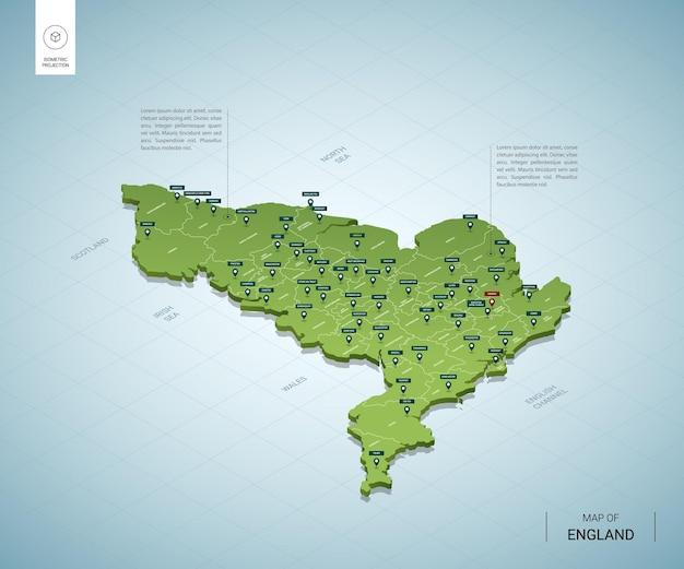 Gestileerde kaart van engeland. isometrische 3d-groene kaart met steden, grenzen, hoofdstad londen, regio's. Premium Vector
