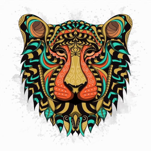 Gestileerde leeuw in etnische stijl Premium Vector