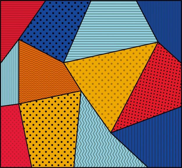 Gestippelde en kleuren achtergrondpop-artstijl Gratis Vector