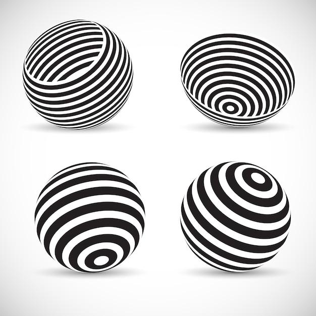 Gestreepte bolvormige ontwerpen Gratis Vector