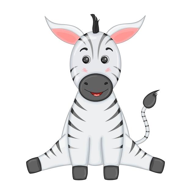 Gestreepte zebra zit benen uit elkaar en glimlacht Premium Vector