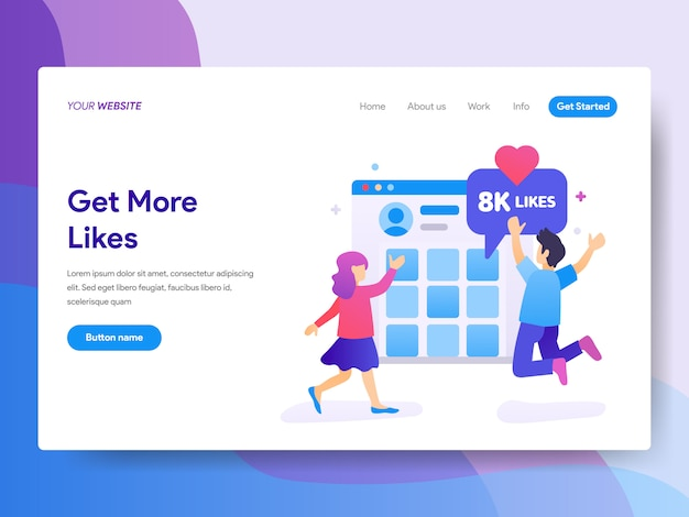 Get more likes illustration on homepage Premium Vector