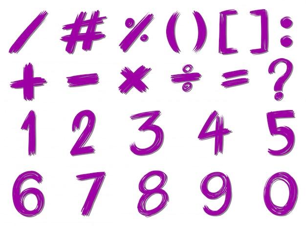 Getallen en tekens in paars kleur Gratis Vector