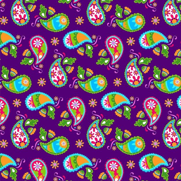 Getekend kleurrijk paisley patroon Gratis Vector