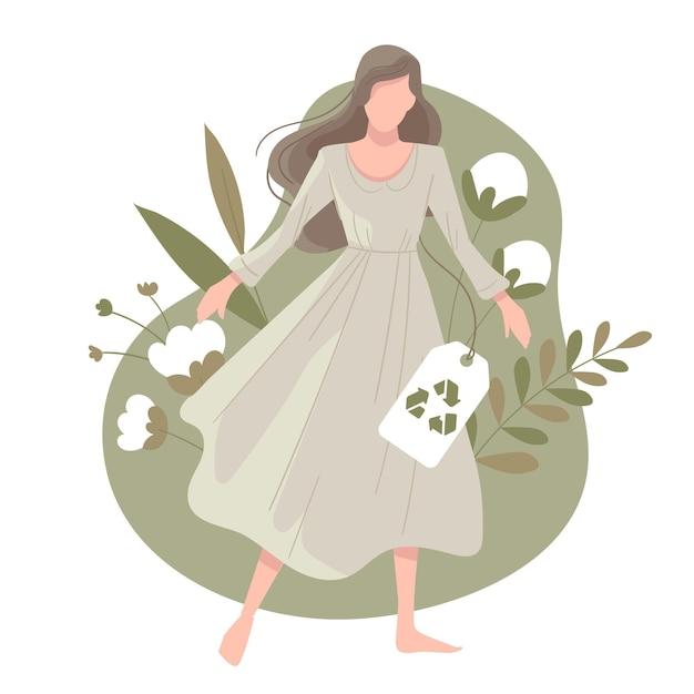 Getekende duurzame mode-illustratie met platte hand met vrouw en katoen Gratis Vector