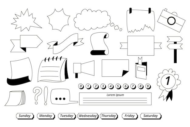 Getekende elementen voor bullet-journals-set Gratis Vector