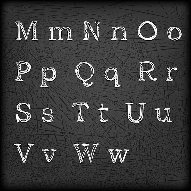 Getekende hand getrokken alfabet van m tot w. Gratis Vector