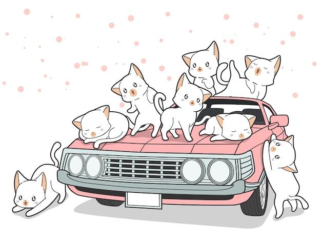 Getekende kawaii katten en roze auto in cartoon stijl. Premium Vector