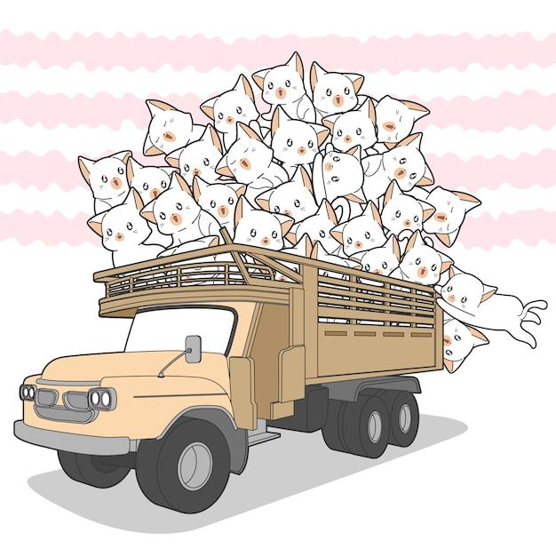 Getekende kawaii katten op vrachtwagen. Premium Vector