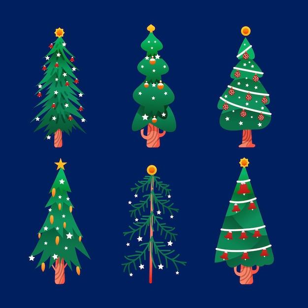 Getekende kerstbomen pack Gratis Vector