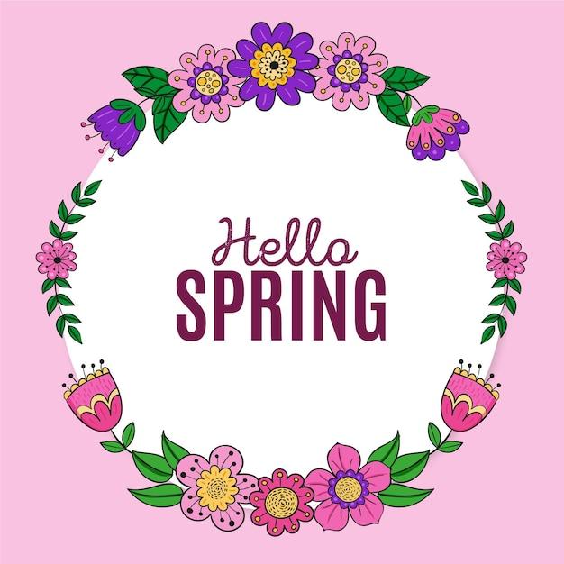 Getekende lente bloemen frame met bericht Gratis Vector