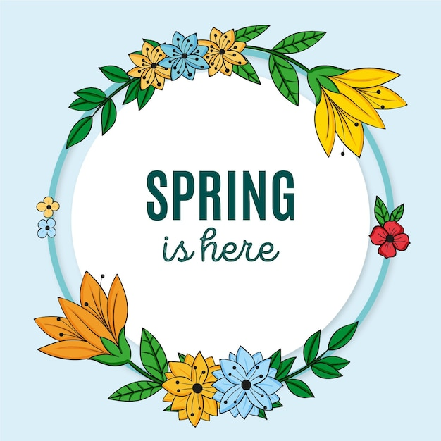 Getekende lente bloemen frame met bericht Premium Vector