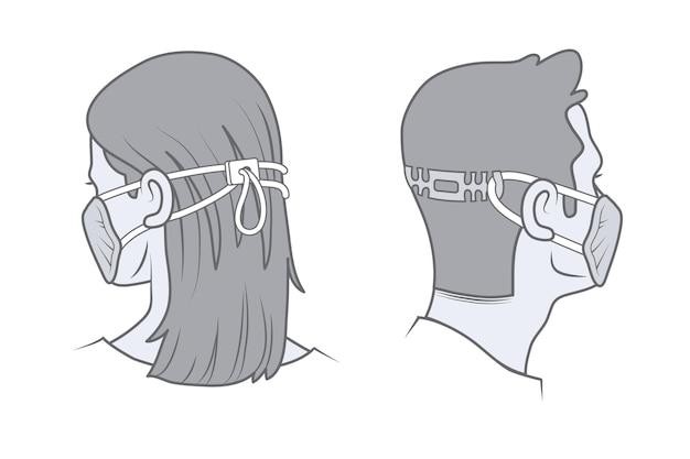 Getekende mensen met verstelbare gezichtsmaskers Gratis Vector