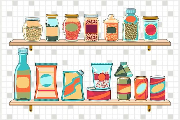 Getekende pantry met verschillende soorten voedsel Gratis Vector