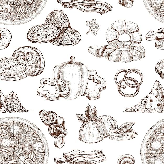 Getekende pizza ingrediënten patroon Gratis Vector