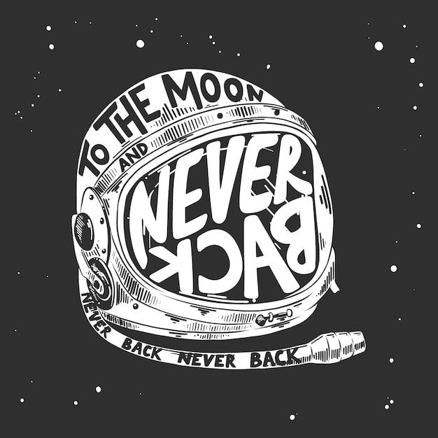 Getekende schets van astronautenhelm met letters Premium Vector