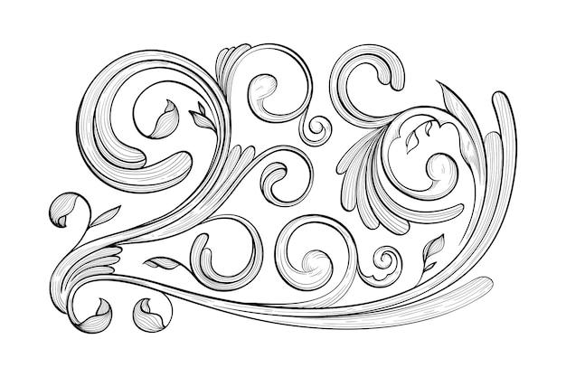 Getekende sierrand in barokstijl Gratis Vector