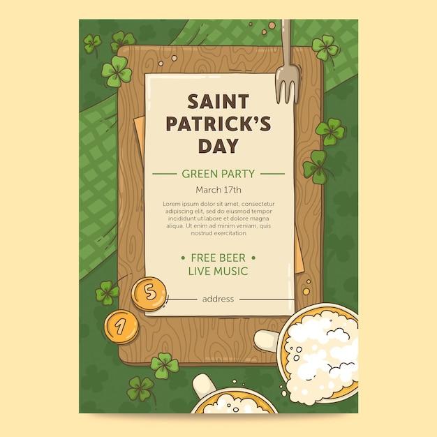 Getekende st. patrick's day flyer-sjabloon Gratis Vector