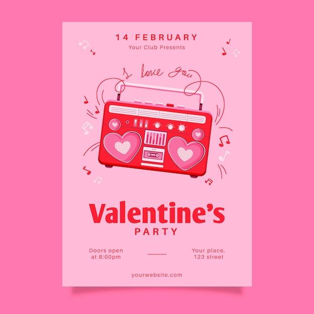 Getekende valentijnsdag partij poster Gratis Vector