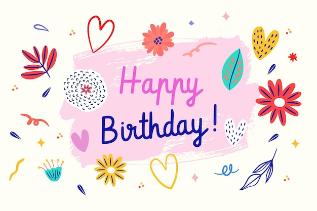 Getekende verjaardag achtergrond met schattige illustraties Gratis Vector