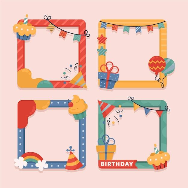 Getekende verjaardag collage frame-collectie Gratis Vector