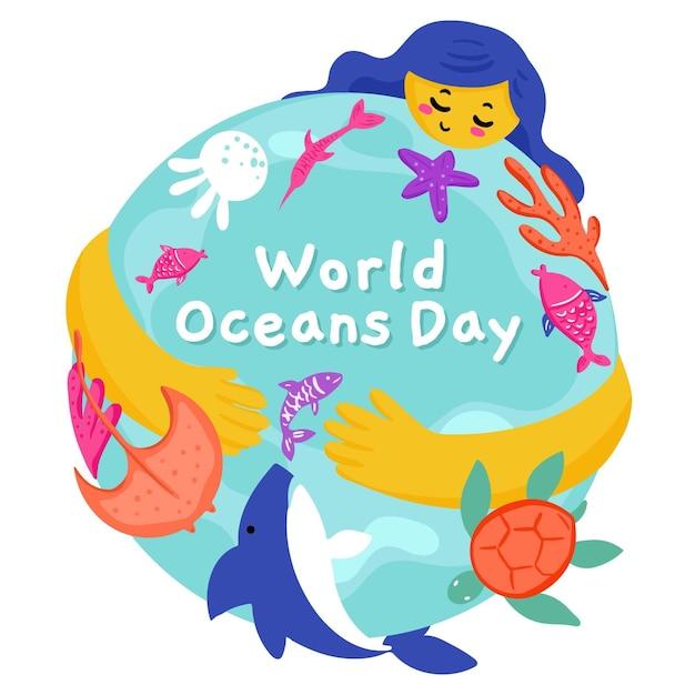 Getekende wereld oceanen dag Gratis Vector