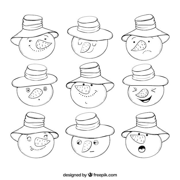 -getrokken collectie van snowman emoticons Gratis Vector
