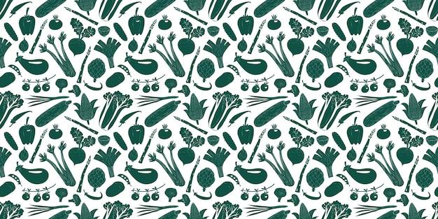 Getrokken de groenten naadloos patroon van het beeldverhaal hand Premium Vector