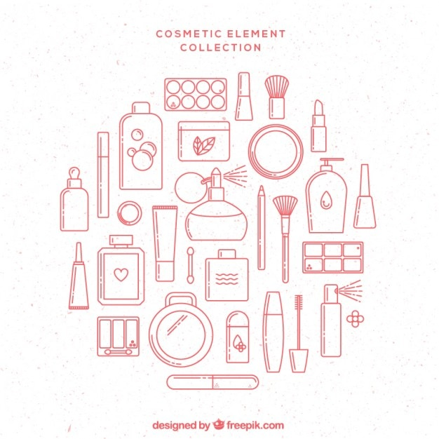 Getrokken roze kant cosmetische elementen Premium Vector