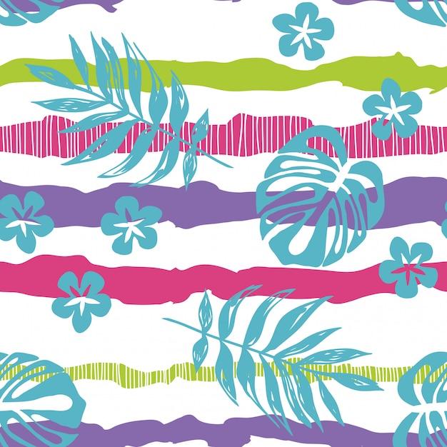 Getrokken tropische bladeren op een gestreept naadloos patroon. Premium Vector